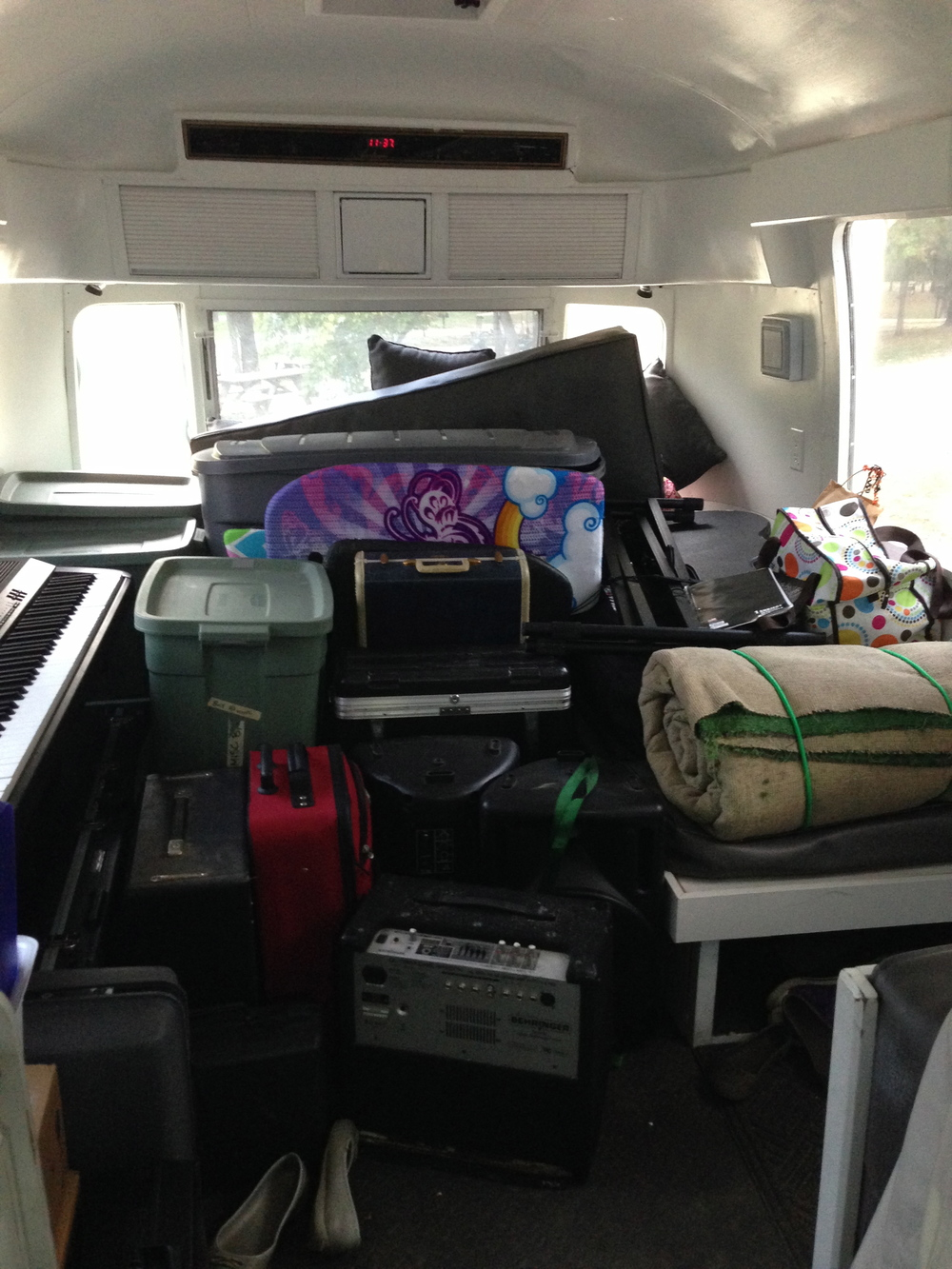 We had to unpack all of the music gear into the Airstream for the day!