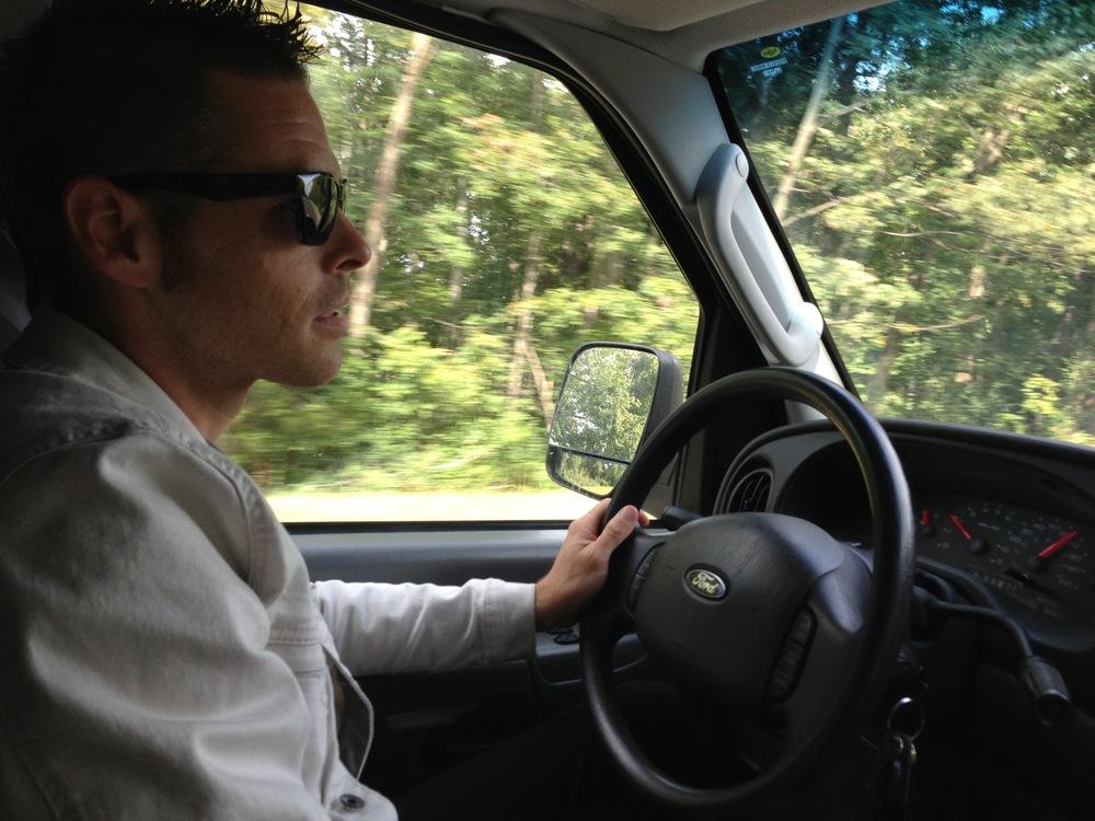 Michael driving.