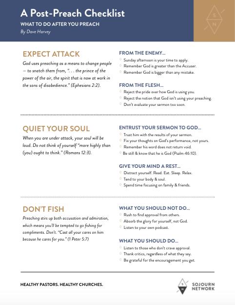 A Post-Preach Checklist By Dave Harvey