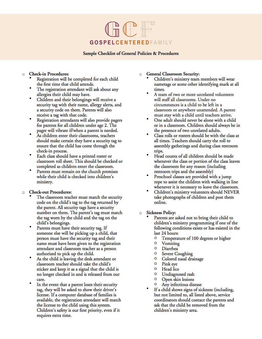 Kids Ministry Checklist of General Policies & Procedures By Jared Kennedy