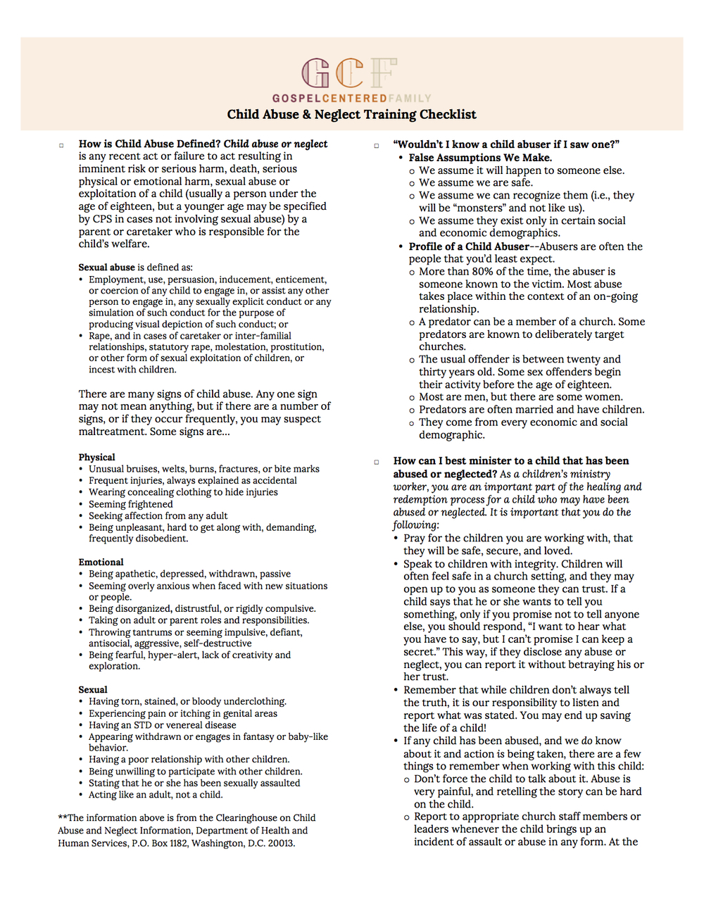 Child Abuse & Training Checklist By Jared Kennedy
