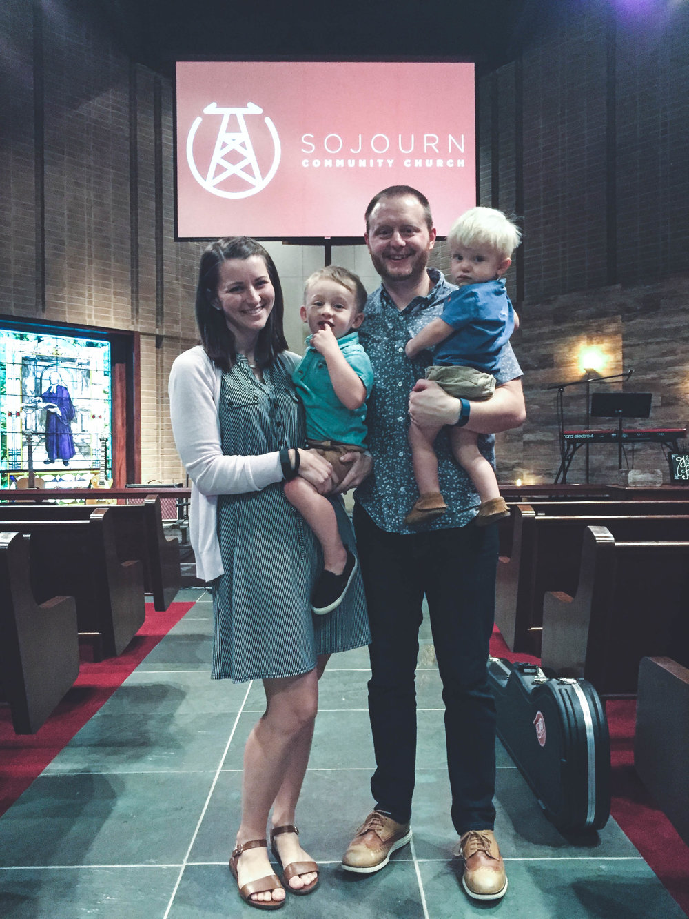 The Jean family is all smiles after the service on Sunday evening. Silas just turned 3, Henry is 18 months, and a new baby sister is set to arrive this September. Featured in the photo from left to right: Esther Jean, Silas Jean, Josh Jean, and Henry Jean.