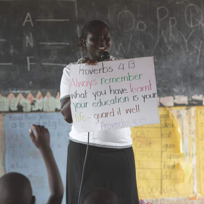 A student giving a presentation.
