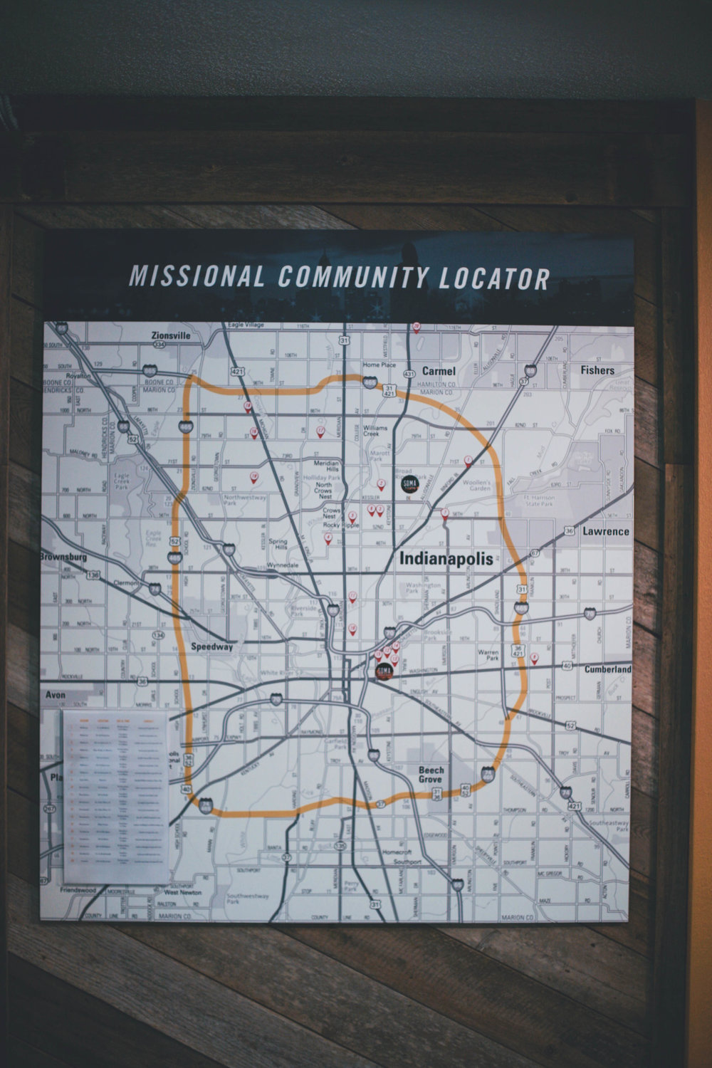 "We LOVE this ""Missional Community Locator"" we found in the lobby. Such a great reminder and tool that helps propel us toward mission."