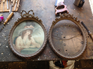 A pair of 18th century frames, the one on the right has half the bow missing.