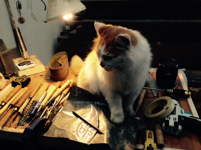 Thomas the workshop cat completely oblivious to the dangers of jumping up onto a bench covered in gouges. Fortunately he was completely fine and after a quick snuggle I removed him to safety!