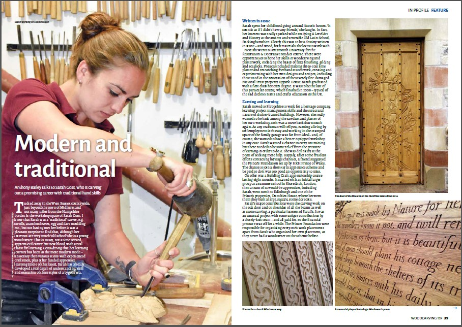 Woodcarving Magazine Interview - Back in the summer I was interviewed for this article in Woodcarving Magazine and since then I've had a so many lovely and supportive comments from readers and hopefully made people see that my generation are very much interested in keeping traditional crafts alive!