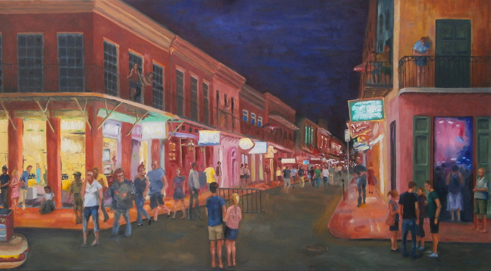Tourists at Night;  36 x 20 in.; oil on canvas