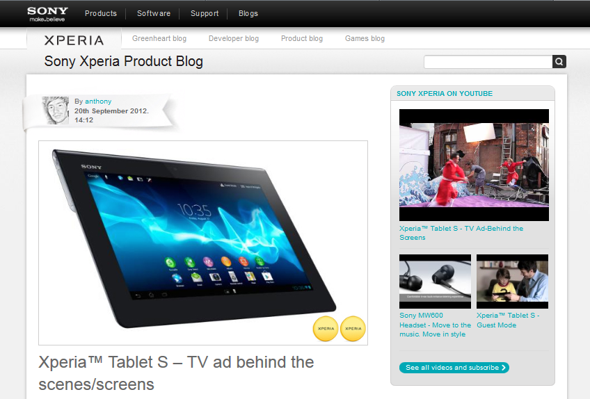 Sony Xperia Tablet blog