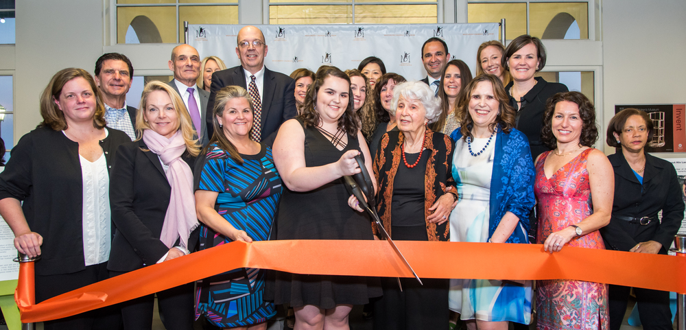 Current and founding boardmembers with Lisina Hoch cutting the ribbon to open the Hoch Laager Boardwalk Galleries, Phase 1 of the Westchester Children's Museum.