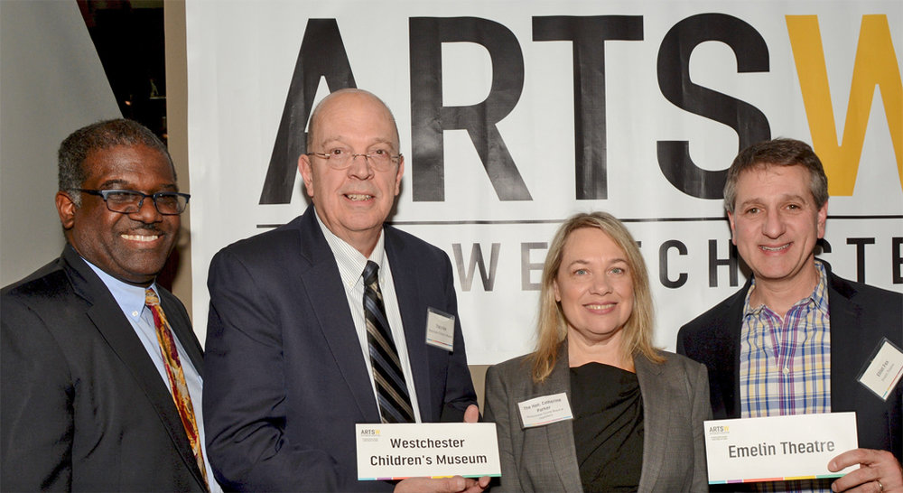 Deputy County Executive Kenneth Jenkins, Tracy Kay,representing Westchester Children's Museum, Westchester County Legislator Catherine Parker and Elliot Fox,representing Emelin Theatre at ArtsWestchester's legislator reception. Photo by Leslye Smith