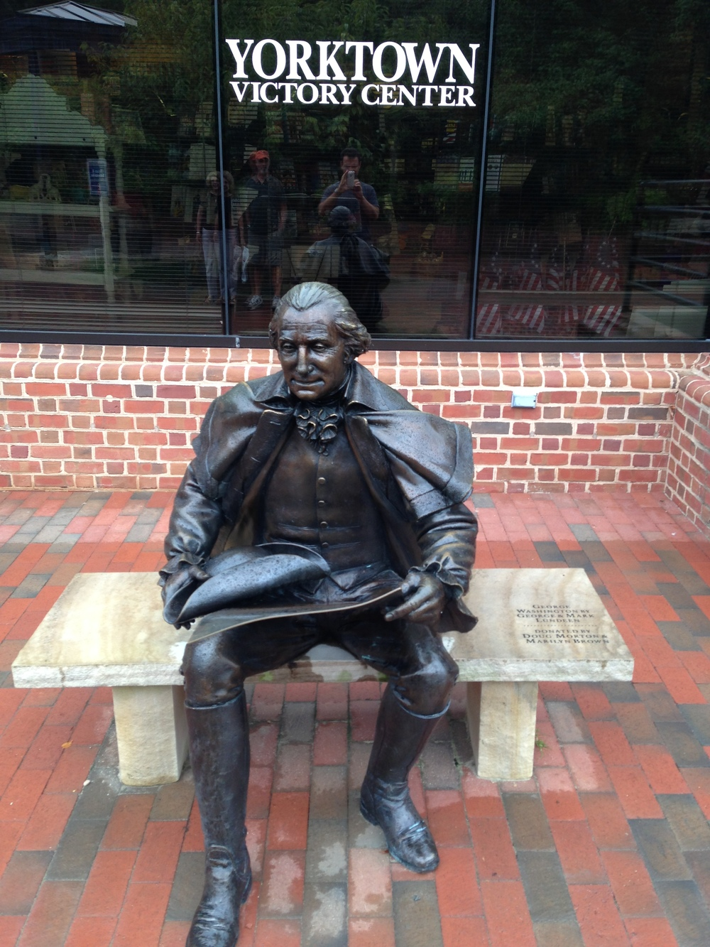 Outside the Yorktown Victory Center, George Washington sits in anxious contemplation of the ongoing siege.  He also looks constipated.