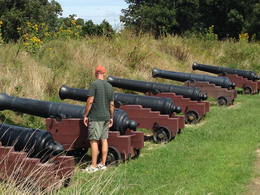 Dad gives the cannon near redoubt Number Nine the once over.