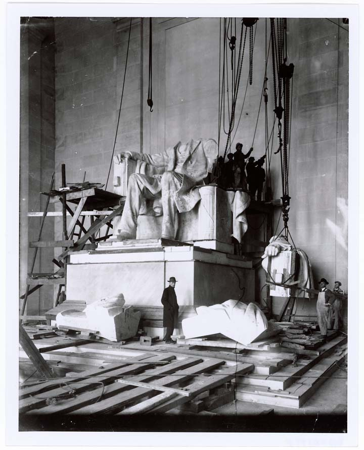 Assembling Abraham Lincoln's statue at the Lincoln Memorial.