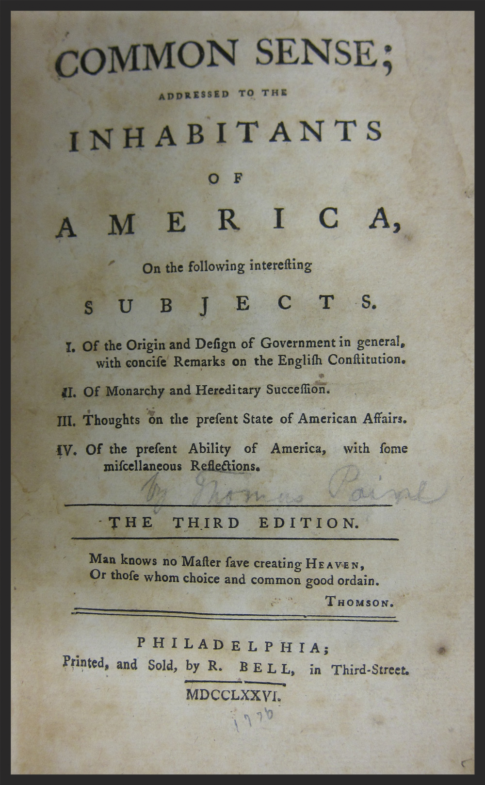 An original copy of Thomas Paine's Common Sense.