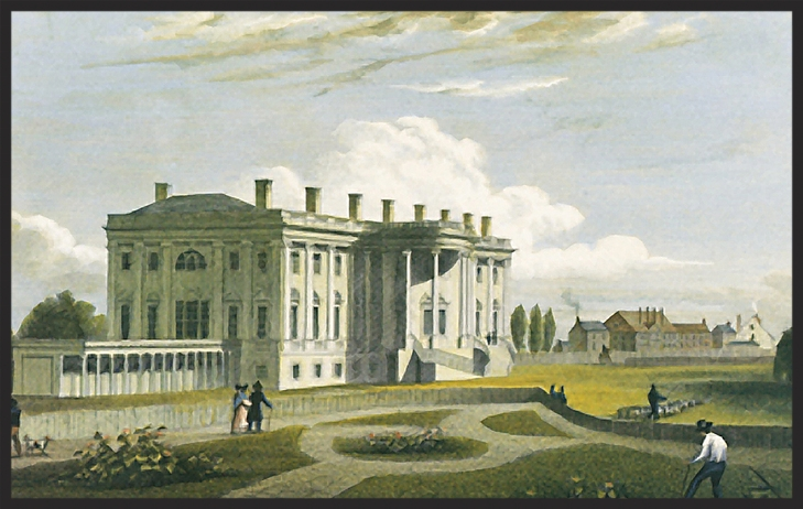 An early 1800s view of the White House.