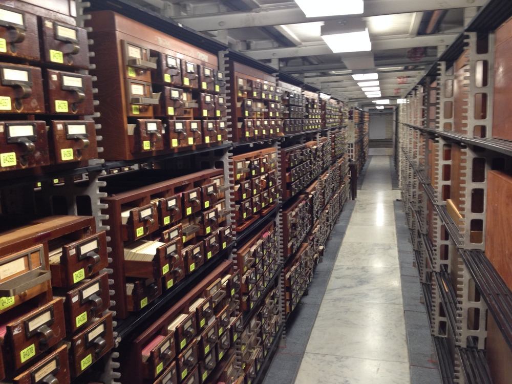The walk-in card catalog.  There were probably two dozen aisles such as this one.