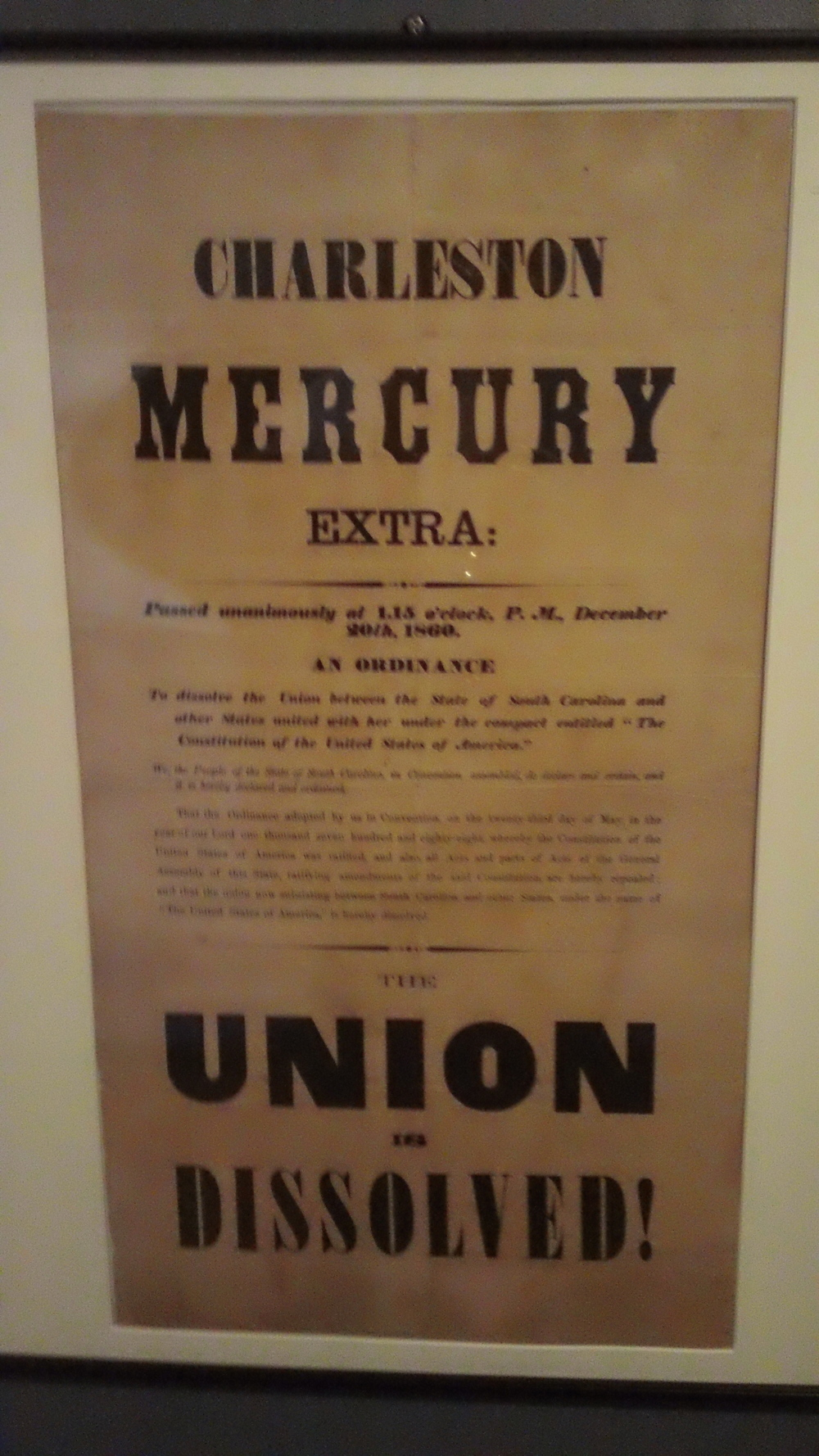 The Museum of the Confederacy has a famous broadside from the Charleston Mercury newspaper after the fall of Fort Sumter.