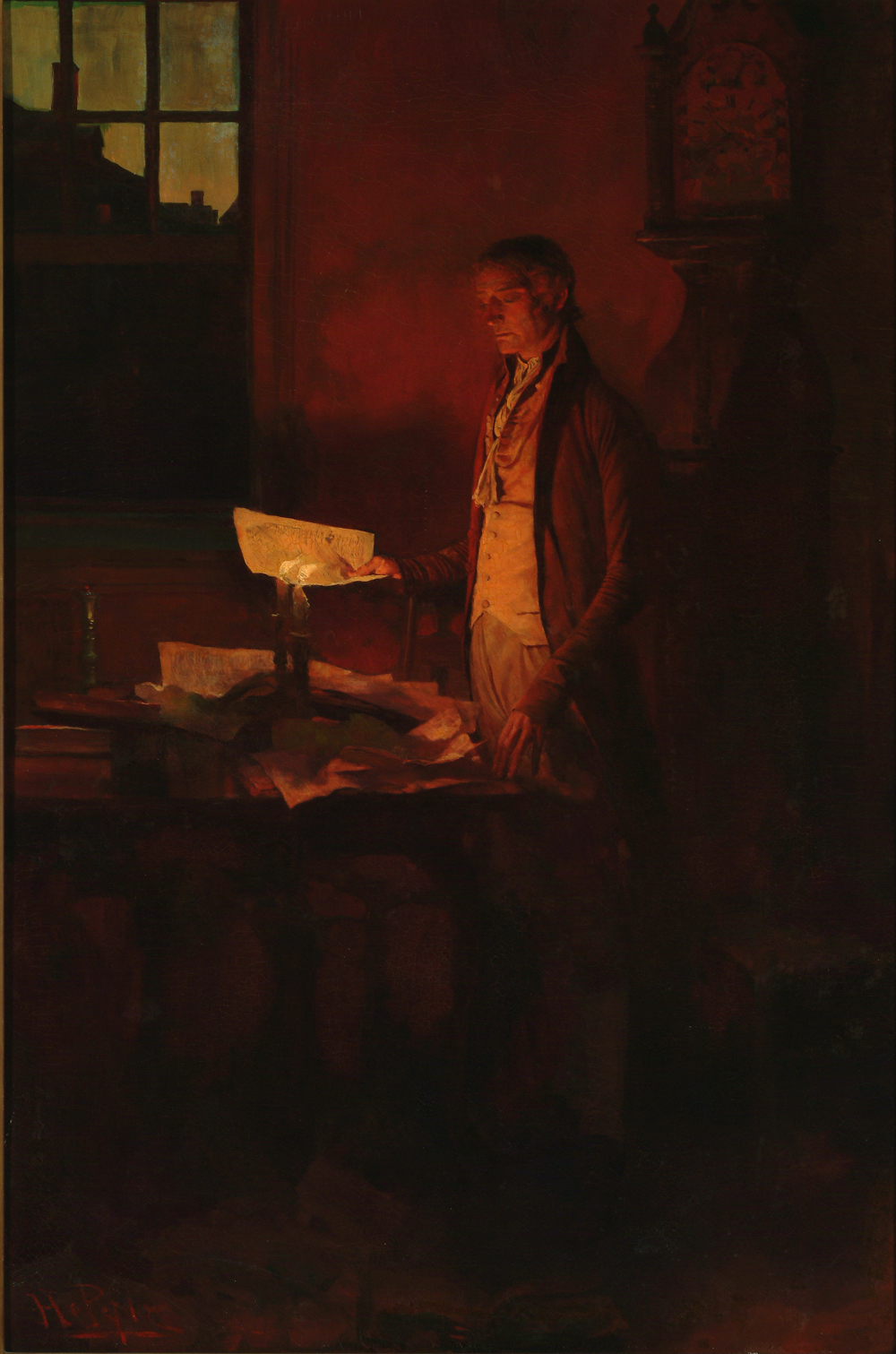 Jefferson writing the Declaration of Independence.