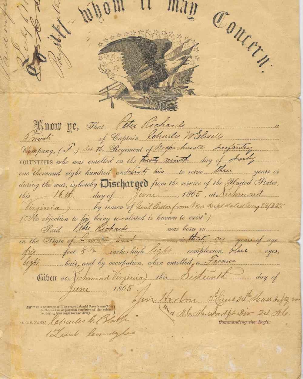 Peter Richards' discharge.