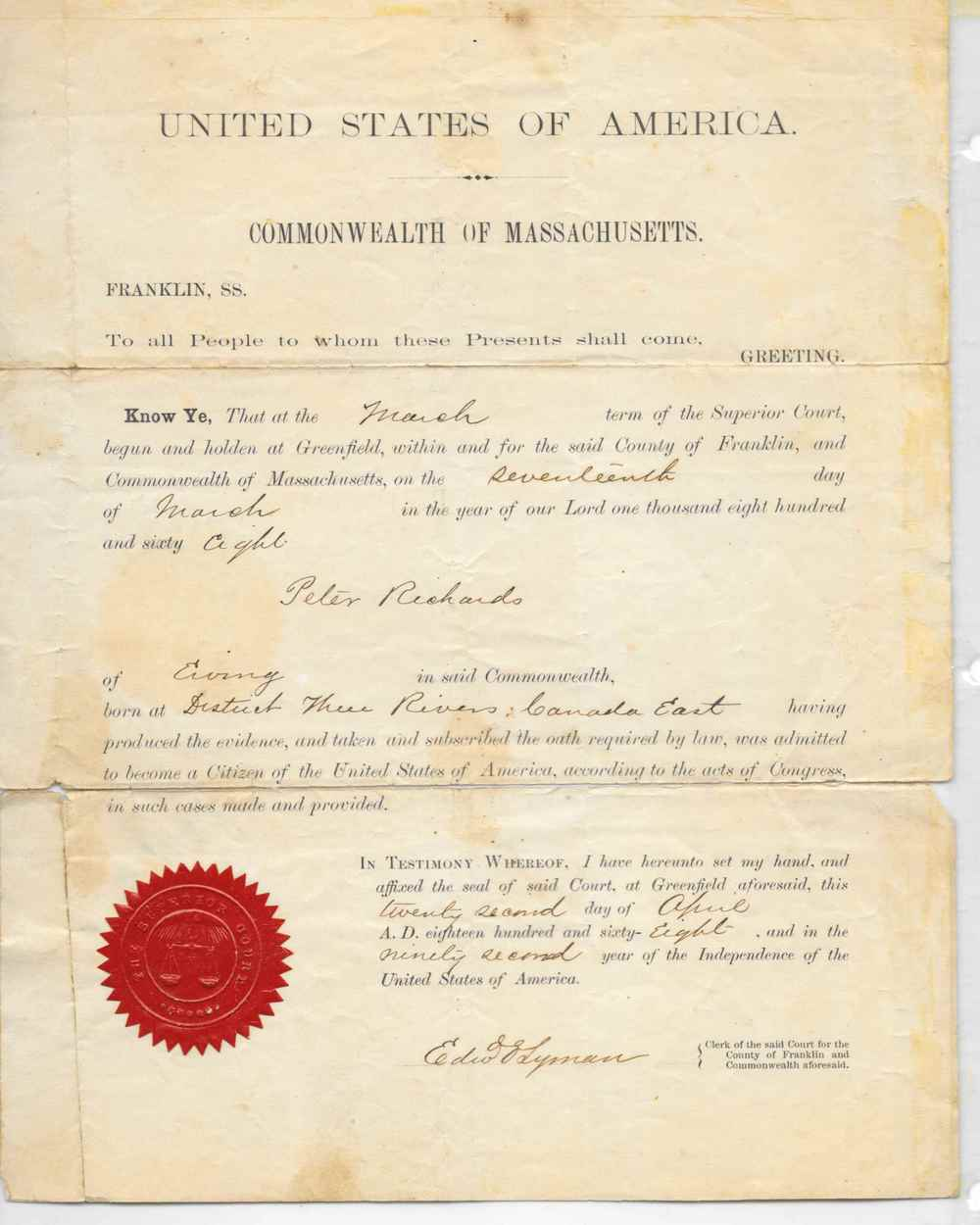 Peter Richards' citizenship.
