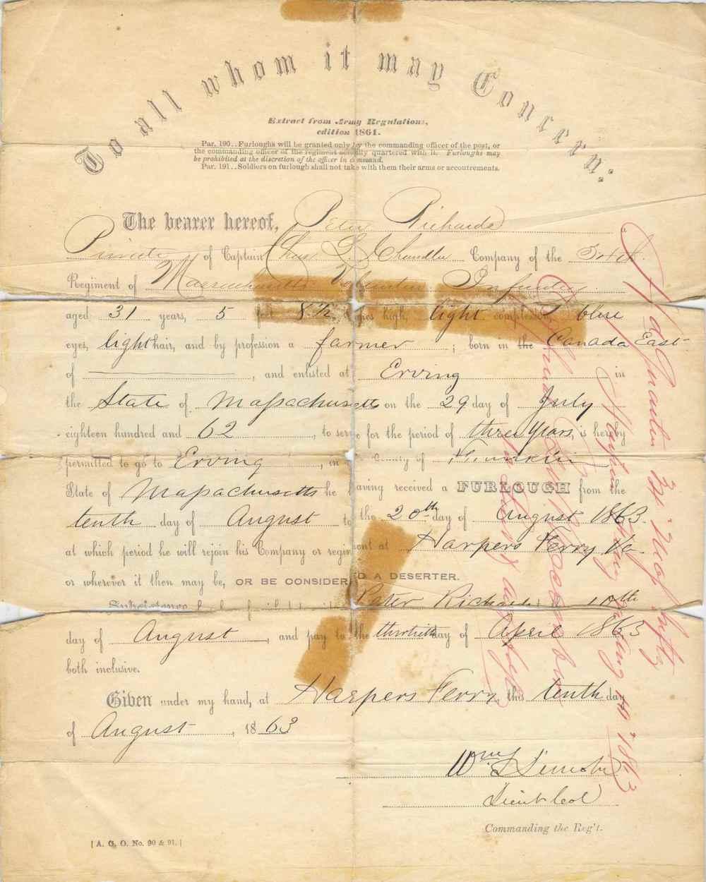 Peter Richards' August, 1863 furlough.
