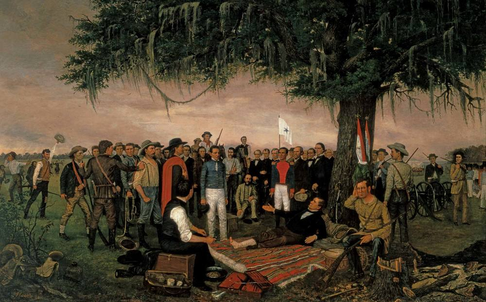 Sam Houston (center), forced to recline due a wounded ankle, receives a captured Santa Anna following the Battle of San Jacinto.