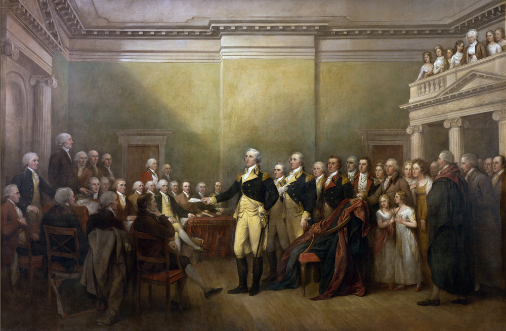 George Washington resigns his commission to Congress in this painting by John Trumbull.