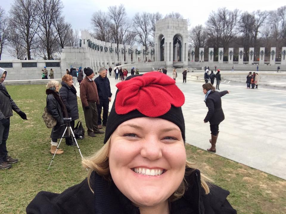 Dianne (our National Archives narrator) takes a selfie with her fellow guides in the background at WWII. What a bright hat!