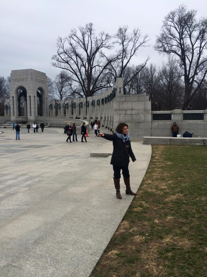 Shannon (yet another one-take-wonder) gives a spell binder at the WWII Memorial.
