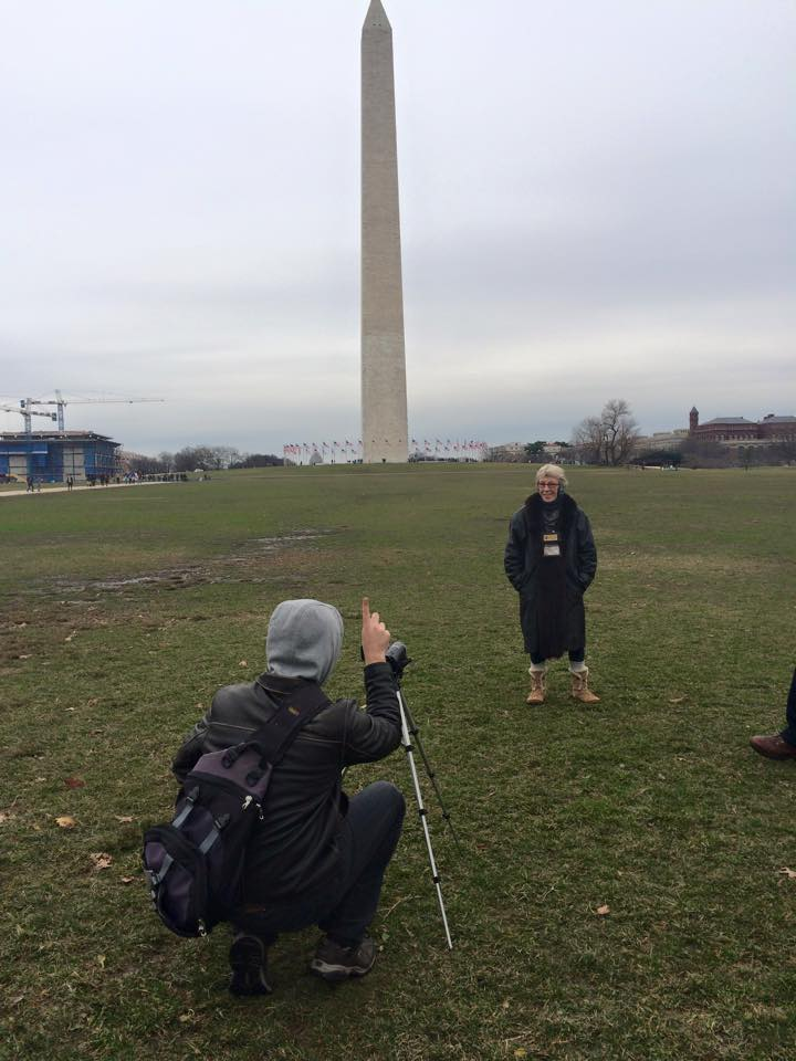 Barbara (who didn't even know she'd be filming with us that day) gives an impromptu talk at the Washington Monument. Now that's a pro.