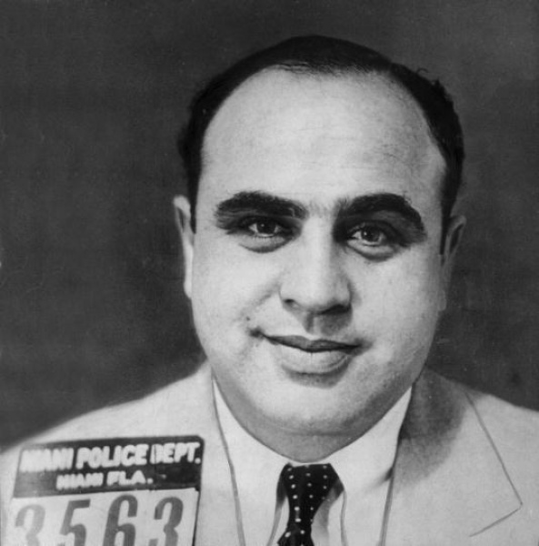 Mugshot of Al Capone taken in Miami, Florida.