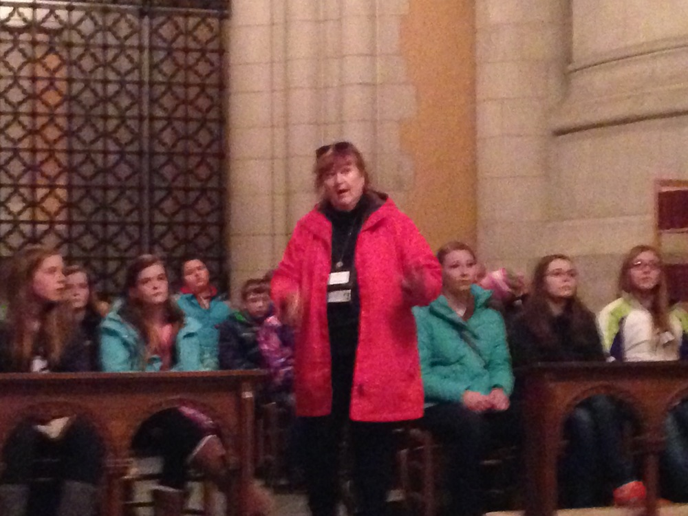 Heidi with the group inside St. Joseph's chapel.