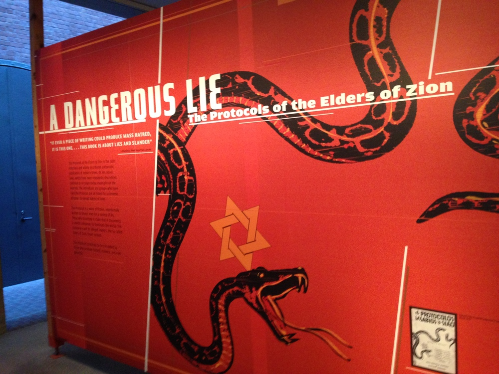 The Protocols of the Elders of Zion exhibit at the Holocaust Museum.