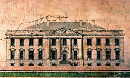 James Hoban's initial White House architectural sketch can be seen here.
