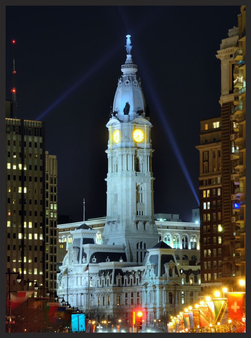 Philadelphia's gorgeously appointed City Hall is topped with a famous statue of William Penn.