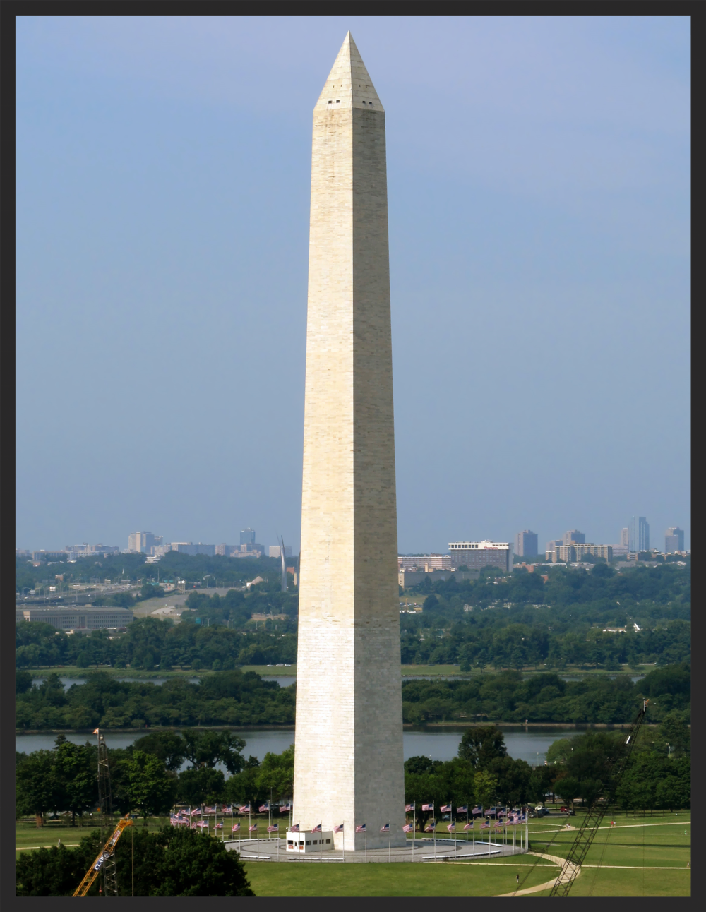 The Washington Monument was completed in 1884 and opened to the public in 1885.