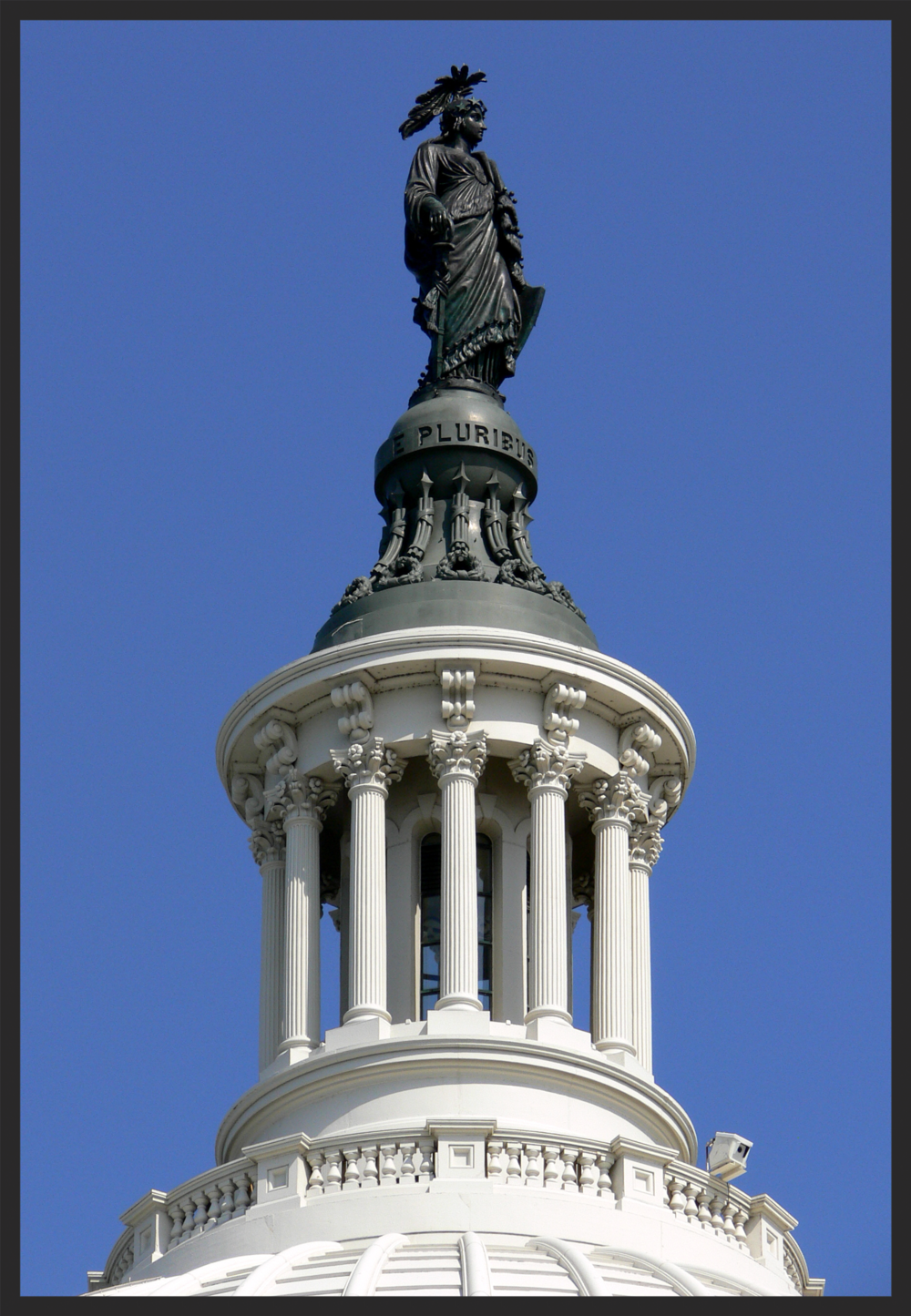 The statue entitled, 'Freedom Triumphant in War & Peace' tops the dome of the United States Capitol Building.