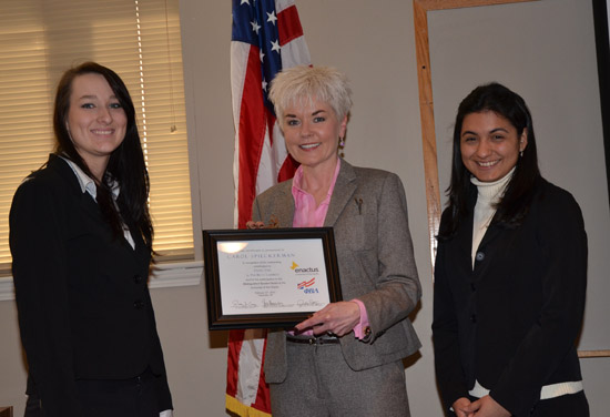 Carol with PBL President Julie Petz (left) and Enactus President Ana Hernandez