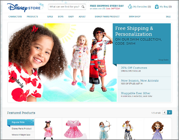 Disney Store's redesigned website