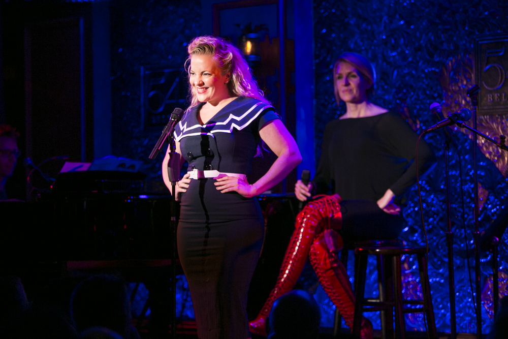 Singing at 54 Below while host Susan Blackwell looks on