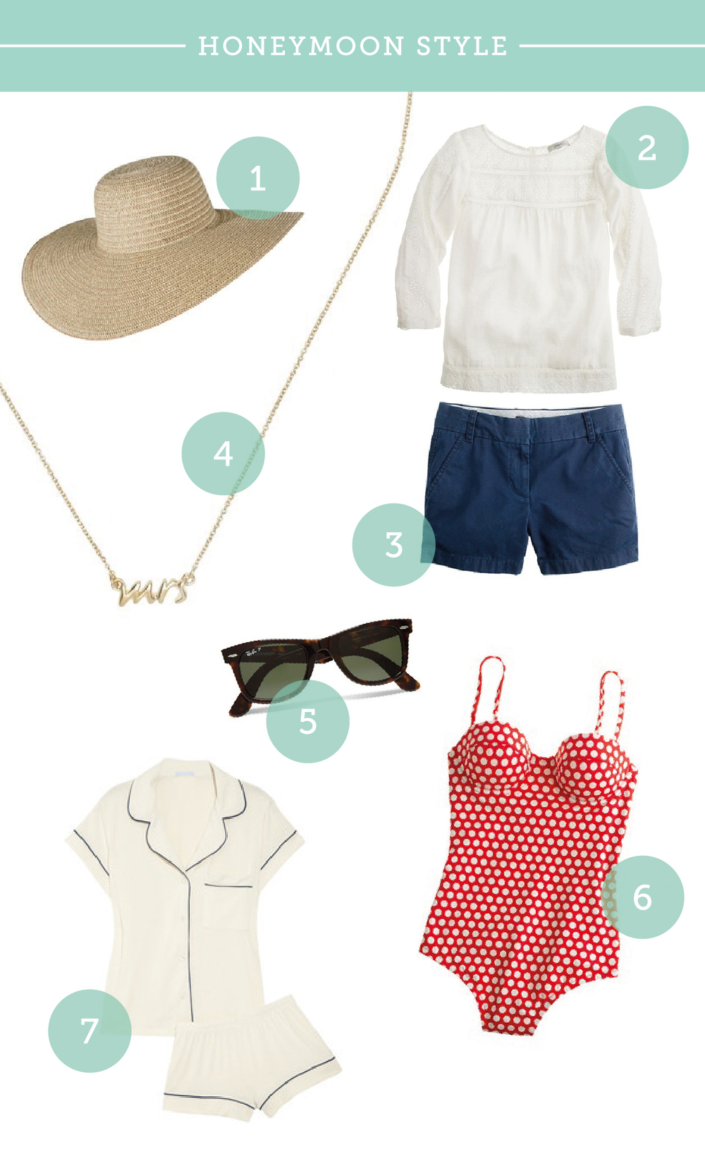 1. Hat from Target, 2. Linen shirt from J. Crew (no longer available), 3. Shorts from J. Crew, 4. Necklace from Kate Spade, 5. Sunglasses from Ray Ban, 6. Swimsuit from J. Crew (similar), 7. PJ set from Eberjey