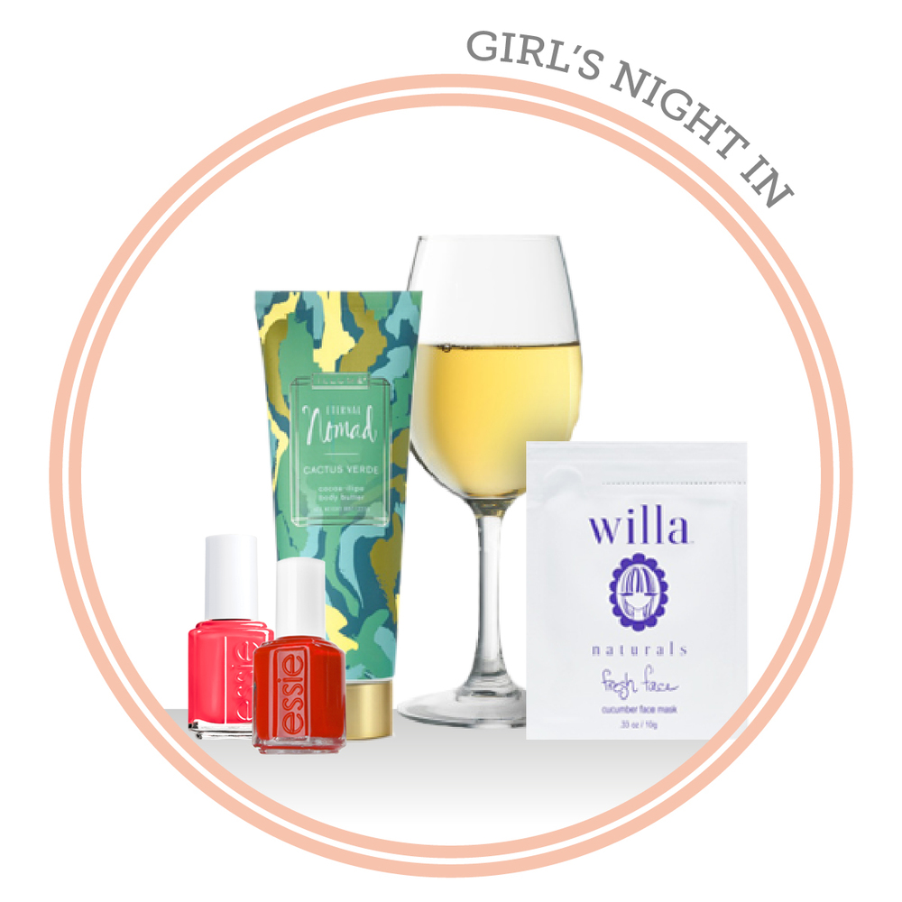 "Essie ""Come Here"" ,  Essie ""Geranium"" ,  Illume Cactus Verde body lotion ,  Cupcake pinot grigio ,  Willa Naturals face mask"