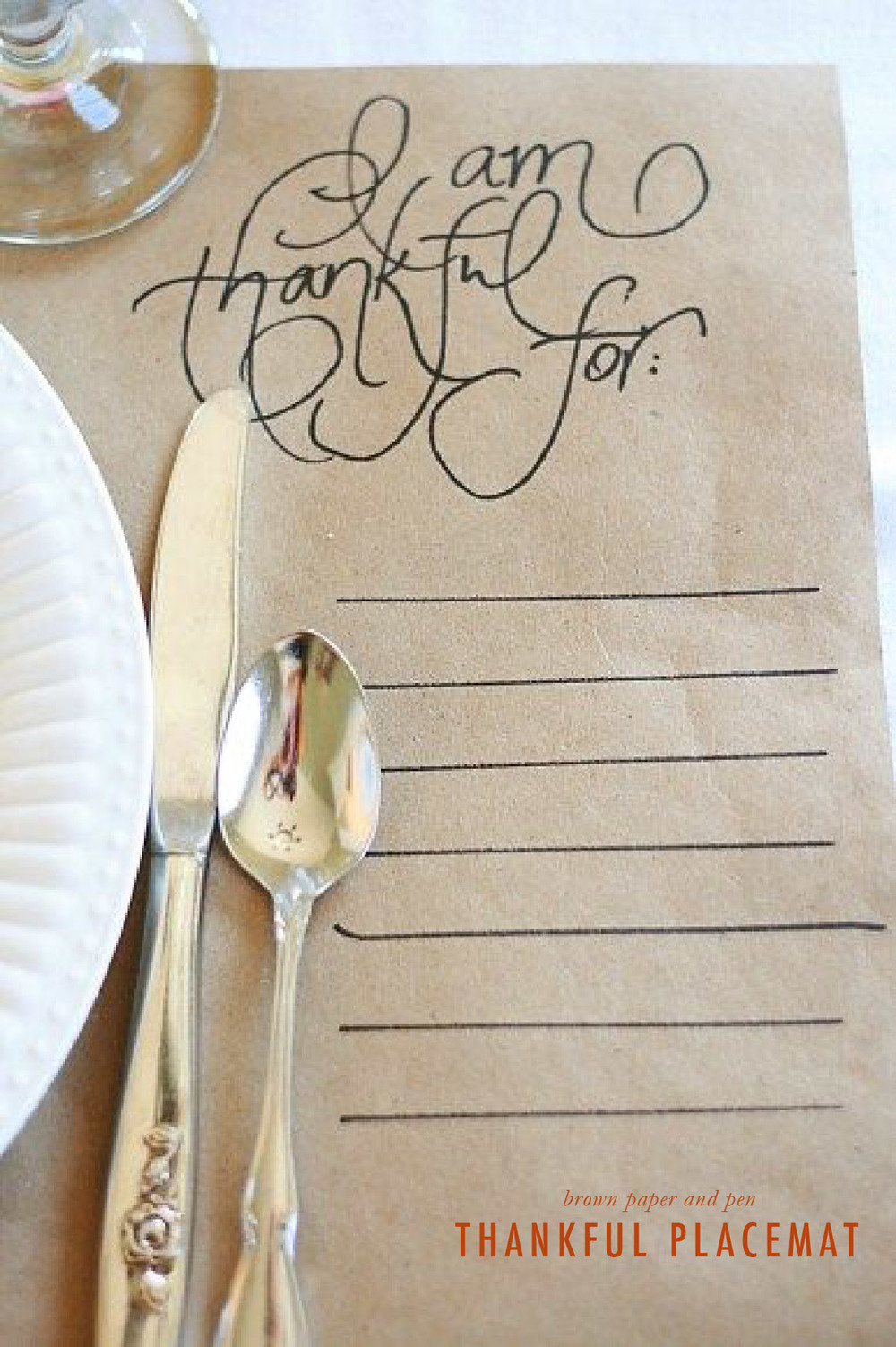 """I am thankful for..."" placemat 