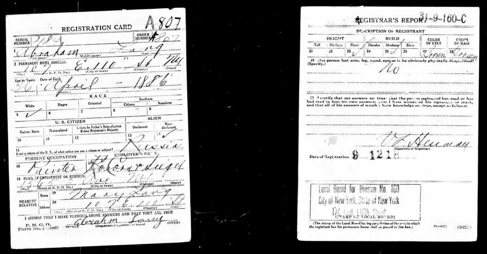 World War I Draft Registration Cards