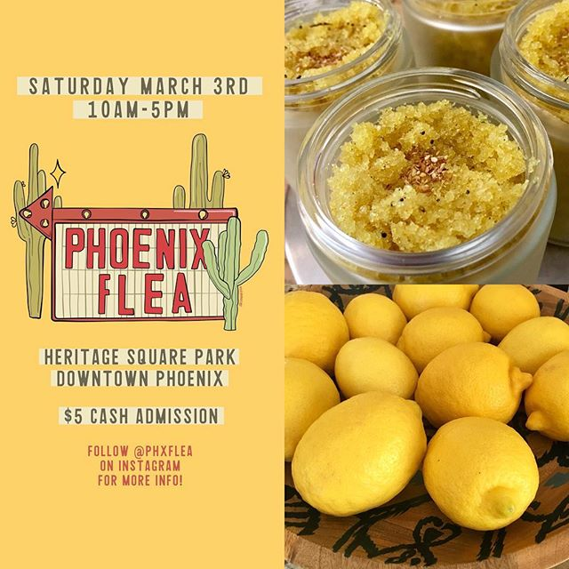 Lemons are in season and so is our Lemon Vanilla Bean Exfoliant Scrub!! 🙌🍋✨Come try this customer fave at Phoenix Flea this Saturday!    Follow @phxflea for more info and buy your tickets online to skip the line     https://www.brownpapertickets.com/event/3342297 marquee flyer by: @sagepizza . . . What's Phoenix Flea? Not your typical flea market, but a curated outdoor market with 150 vendors: makers, artists, vintage fashion, modern design, food trucks, and more! See ya there! 🎉 . . . . #phxflea #phxfleaspring18 #phxfleamaker #phoenixaz #dtphx #dtphxlove #phxevents #azevents #smallbusinesslove #azmakers #azmaker #azmade #madeinaz #shopsmallaz #localloveaz #handcraftedgifts #azhandmade #handmadeinaz #exfoliantscrub #sugarscrub #lemonvanilla #lemonlove #lemonseason #azskincare #organicskincare #veganskincare #plantbasedskincare #veganskincareproducts #happyskin #healthyskin