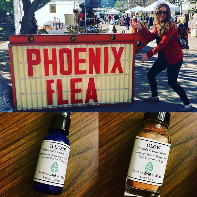 The @phxflea is rockin'! 😎 We have 2 new products today all about Vitamin C - ILLUME restorative facial serum & GLOW brightening facial mask. 🍊☀️🍋Come check 'em out. It's a beautiful day! . . . #heritagesquare #phxflea #phxfleaspring18 #phx #phxevents #myphx #azevents