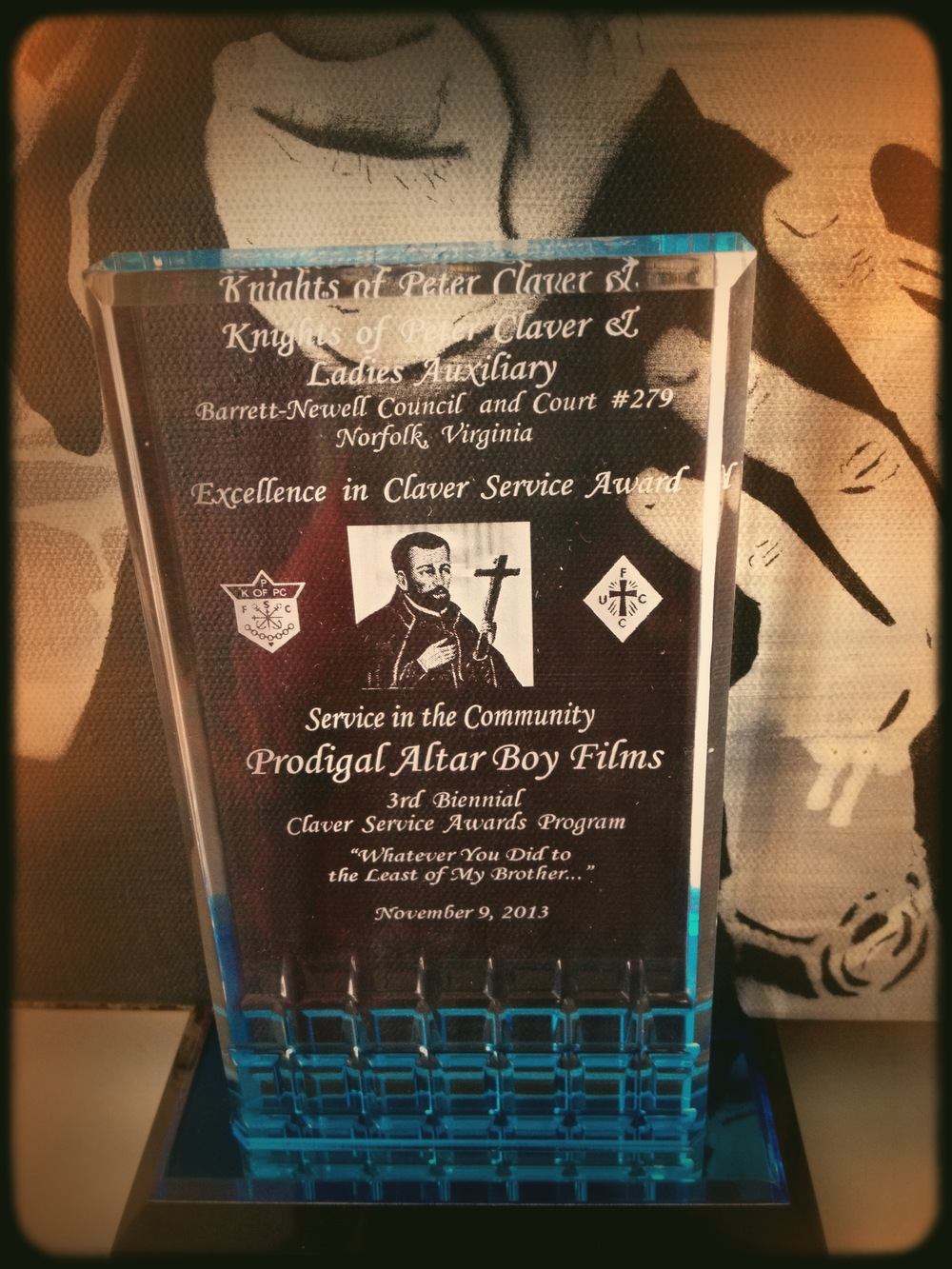 Prodigal Altar Boy Films gets Knights of Peter Claver 2013 Service in the Community Award
