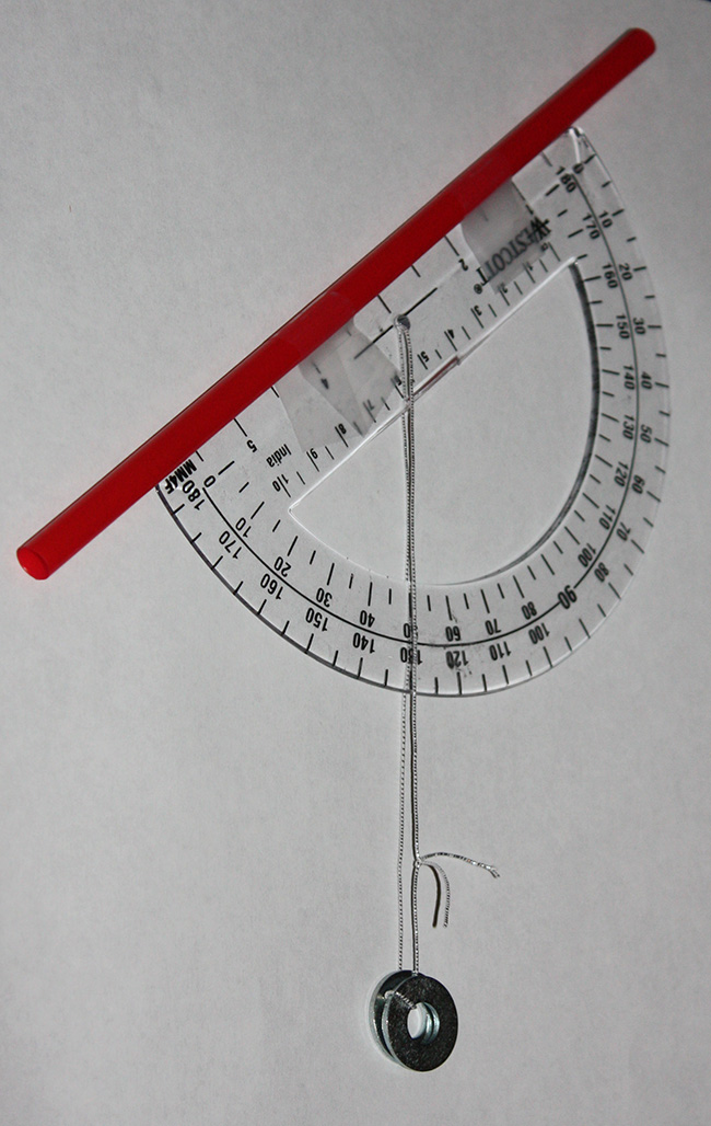 Image 4: The measured obtuse angle minus 90 degrees equals your latitude.