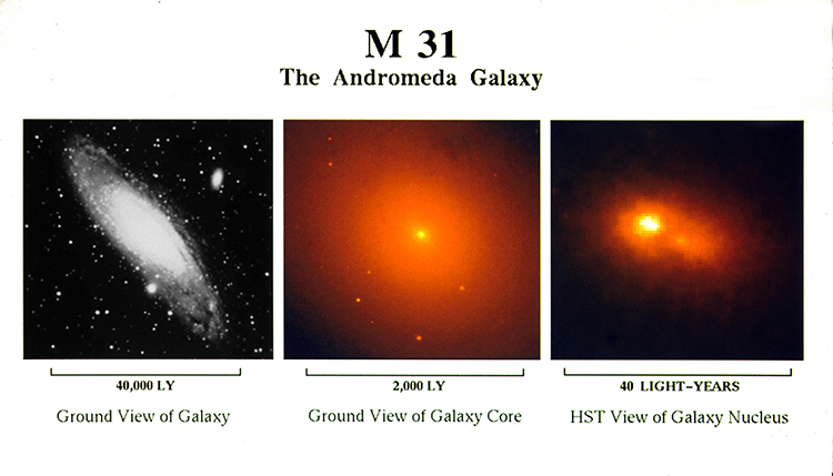 A series of increasingly close-up images: The entire Andromeda Galaxy, also known as M31 (Left); a ground-based telescopic image of the Andromeda Galaxy's central bulge (center); and a Hubble Space Telescope image of Andromeda's galactic nucleus showing two separate light peaks. (Image from News Release STScI-1993-18, courtesy NASA)